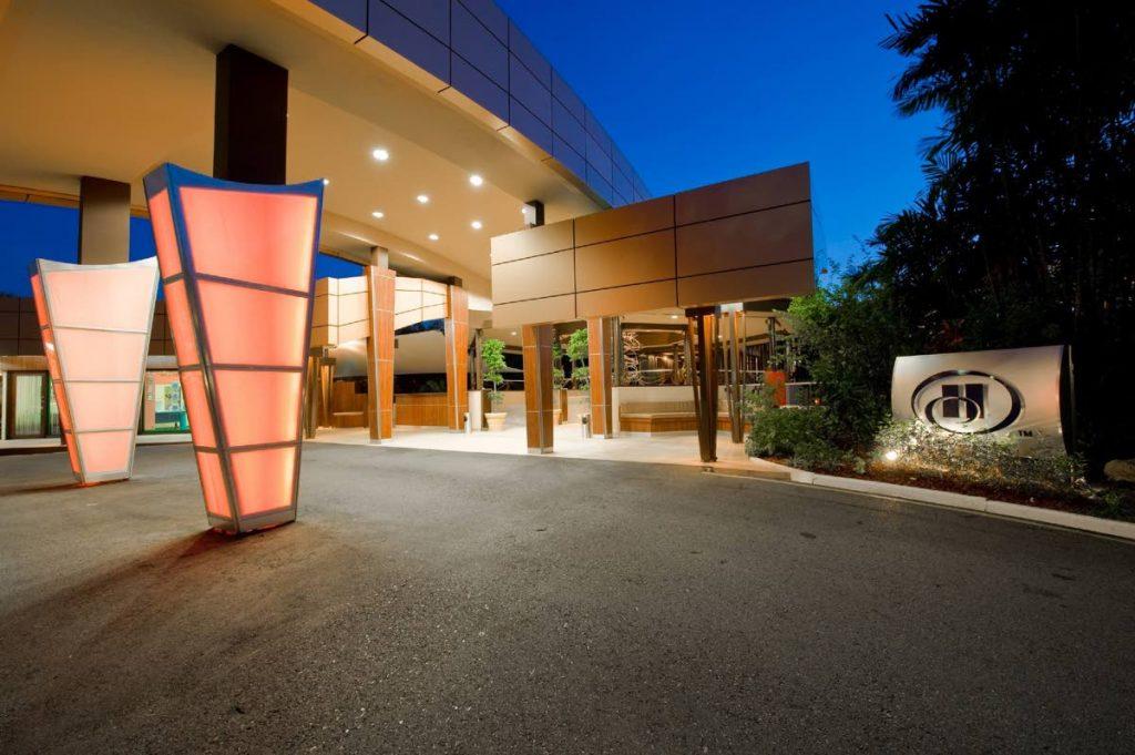 Geo-metric columns illuminate the driveway to Hilton as night falls.  PHOTOS COURTESY HILTON TRINIDAD