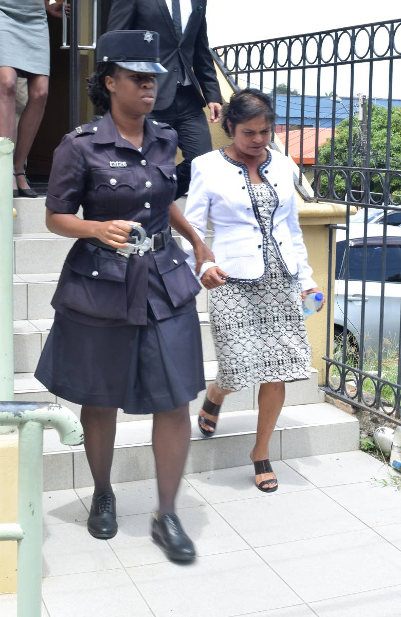 LEAVING COURT: Teacher Shamella Latchmepersad leaves court yesterday.
