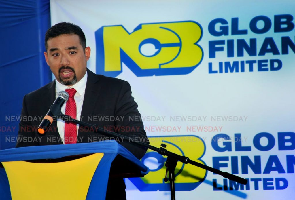 Augus Young CEO, NCB Global Finance Limited speaking at the launch of their new financial product FinGuard at Guardian Corporate Centre , Westmoorings.   PHOTO SUREASH CHOLA