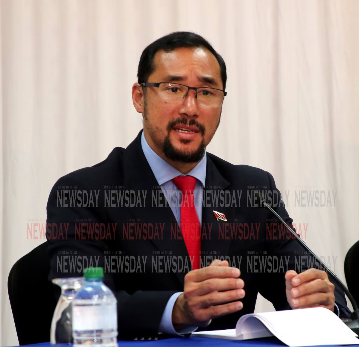 National Security Minister Stuart Young speaking a  on the Venezuelans registration at the Ministry head office on Abercromby Street in Port of Spain.  PHOTO SUREASH CHOLAI