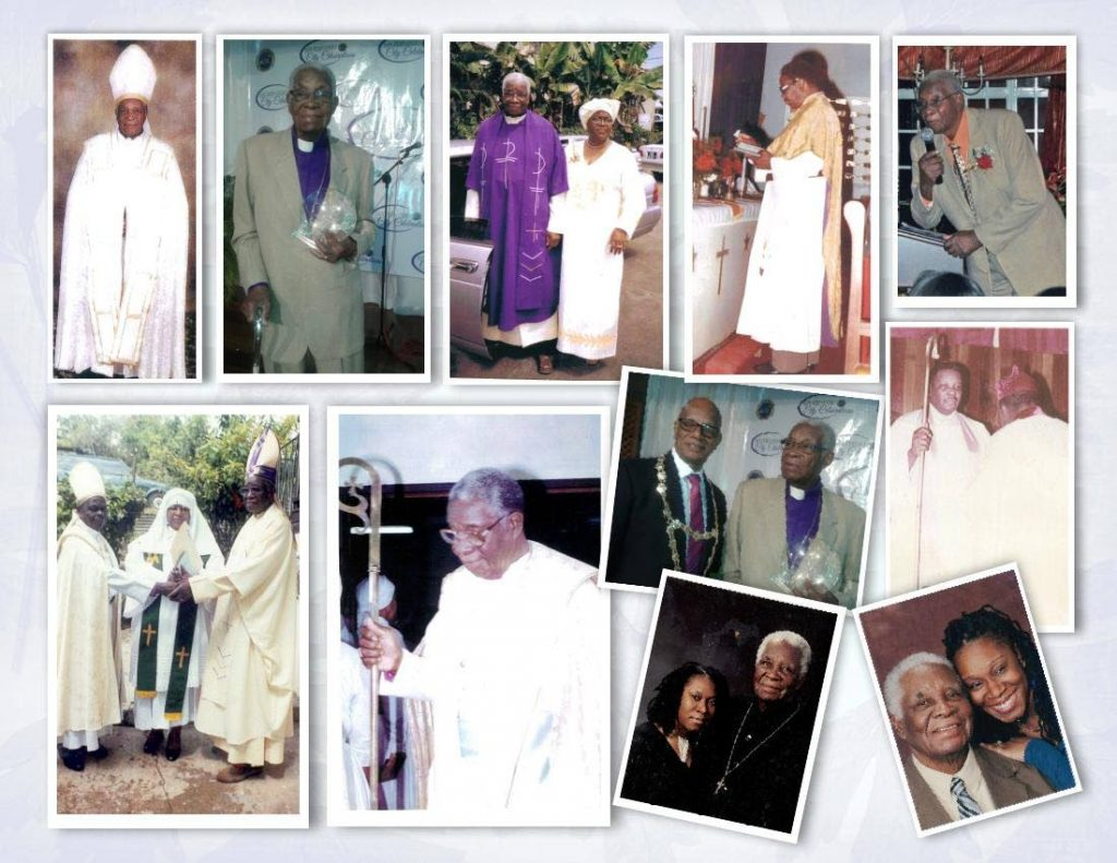 A collection of photos of Archbishop Ivan Nicholas Lancaster of the West Indian United Spiritual Baptist Sacred Order Inc (WIUSBSO) who died on June 8 at age 92. PHOTO COURTESY WIUSBSO