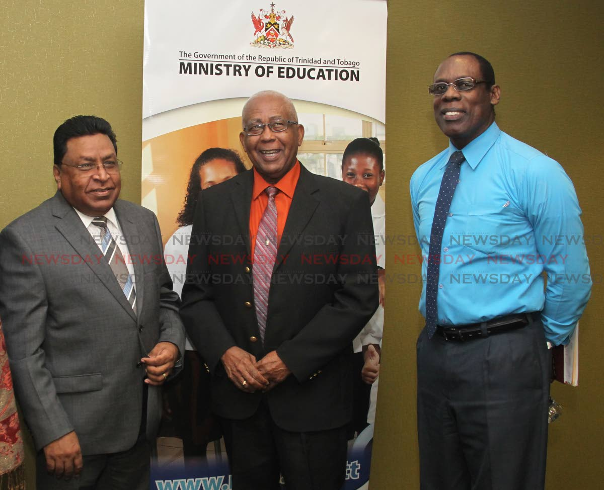 Minister of Education Anthony Garcia alongside Mr. Harrilal Seecharan, Chief Education Officer and Gerard Phillip, Head of ICT Education and Curriculum Specialist pose after a media conference hosted by Education Minister and officials of the Ministry of Education, 4th Floor, Conference Room, Ministry of Education, St Vincent Street, Port of Spain. Monday, June 17, 2019. Photo by Roger Jacob