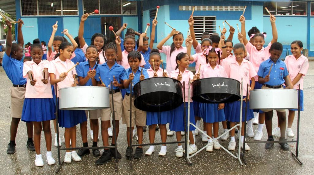 2019 Junior Panorama champions Guaico Presbyterian Steel Orchestra fresh from a musical in Maryland, USA.   Photo: Roger Jacob