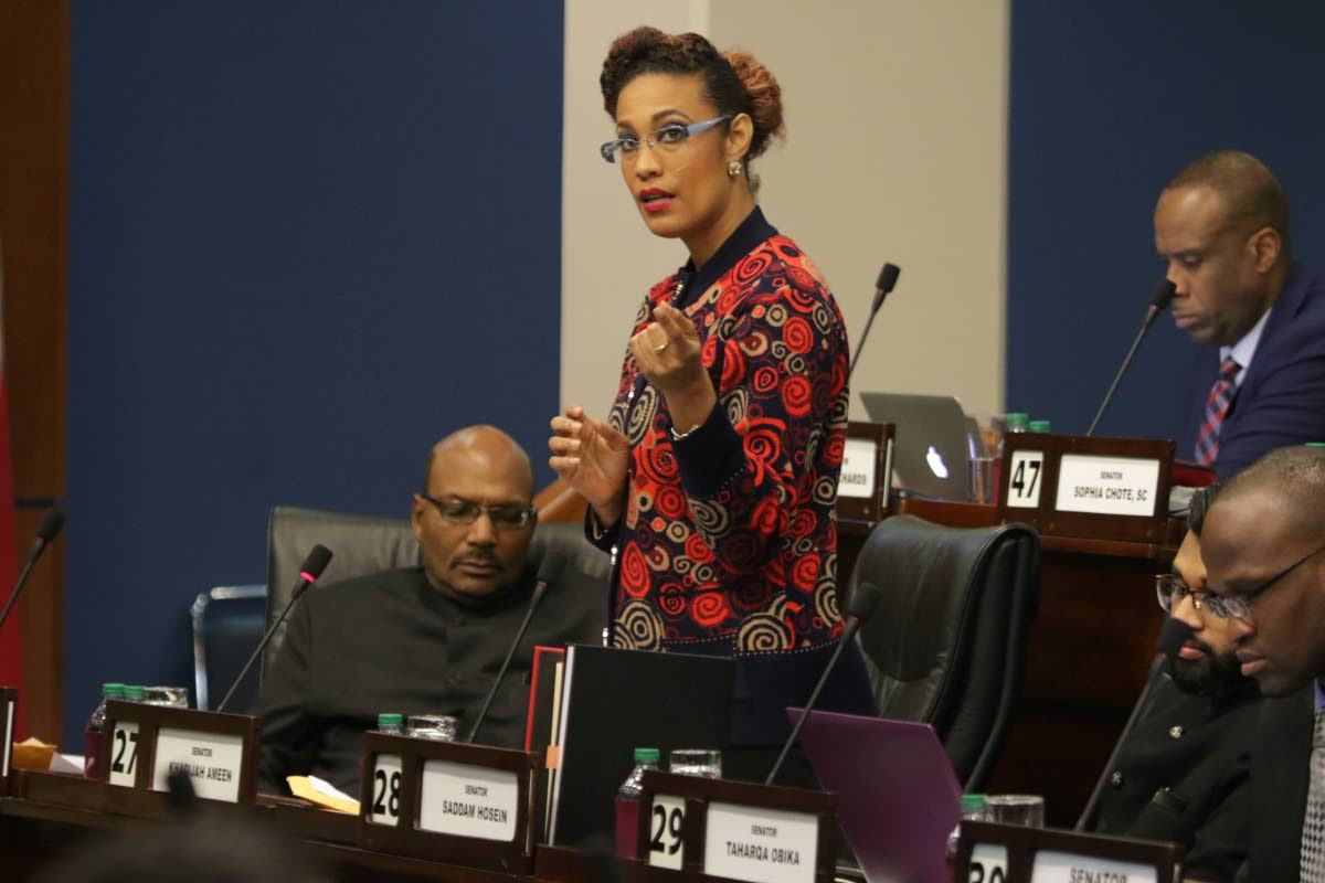 OPPOSED: Opposition Senator Khadijah Ameen making her contribution on Monday to debate of the Miscellaneous Provisions (Tax Amnesty, Pensions, Freedom of Information, National Insurance, Central Bank and Non-Profit Organisations) Bill, 2019 on Monday. PHOTO COURTESY OFFICE OF THE PARLIAMENT