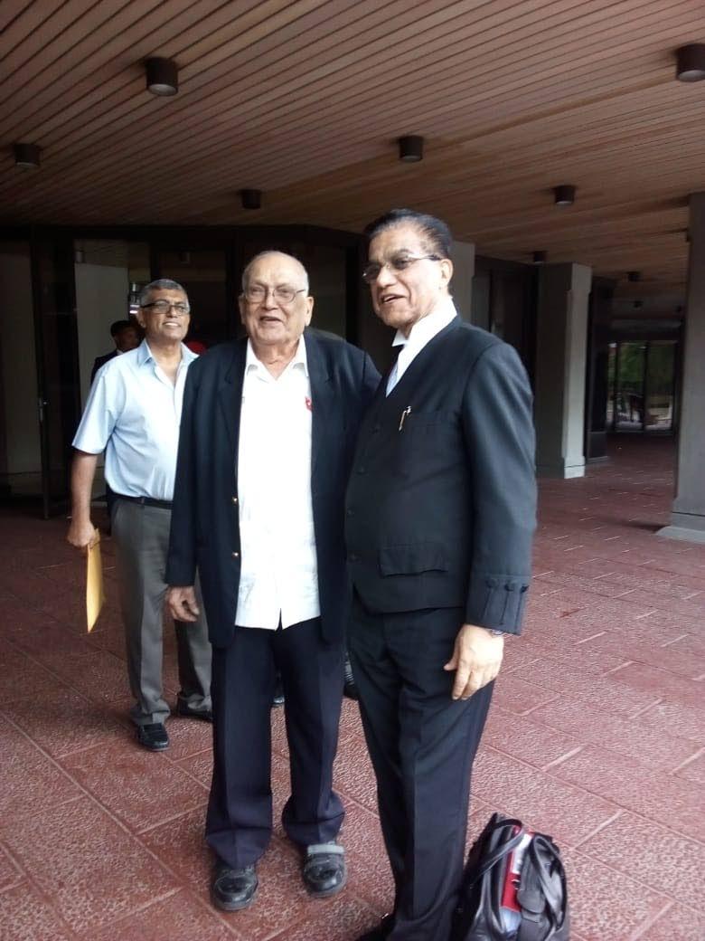 Sanatan Dharma Maha Sabha (SDMS) Satnarayan Maharaj leader Satnarayan Maharaj and his lead counsel Ramesh Lawrence Maharaj,SC, at the Hall of Justice in Port of Spain, yesterday.
