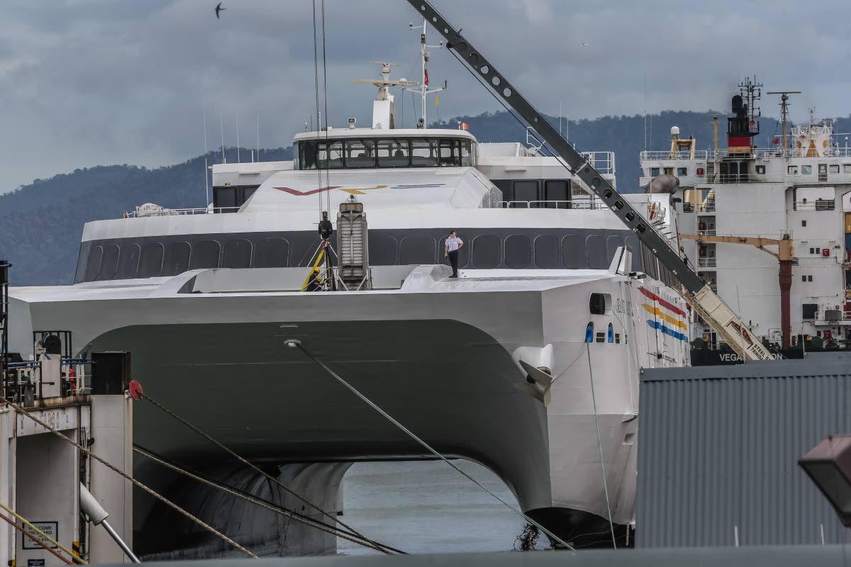 The high speed catamaran, Jean de la Valette, docked in Port of Spain last Wednesday. The passenger vessel will service the seabridge. PHOTO BY JEFF MAYERS