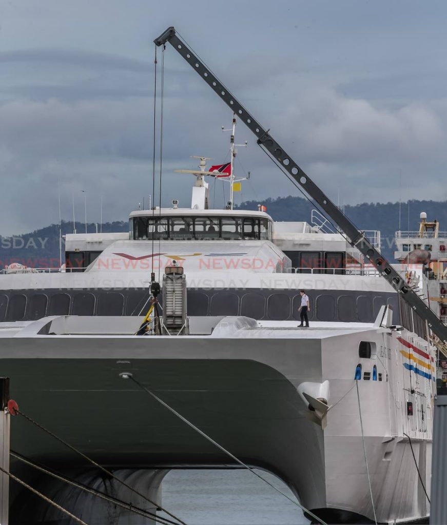 The Jean de la Valette docks at the port in Port of Spain on Tuesday.   PHOTO BY JEFF MAYERS