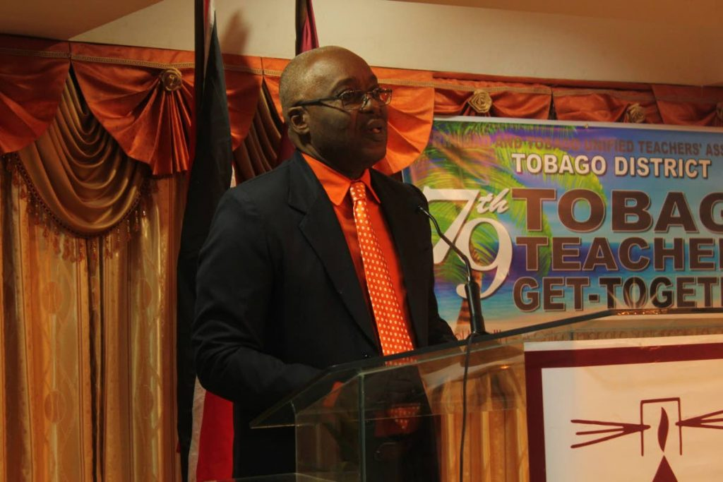 Chief Secretary Kelvin Charles speaking at 97th anniversary for the Tobago Teachers Get-Together on Thursday evening.