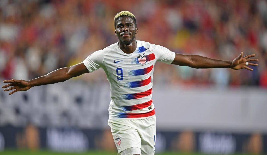 US forward Gyasi Zardes celebrates after scoring a goal against TT during the second half of  a CONCACAF Gold Cup match on Saturday, in Cleveland. (AP PHOTO)