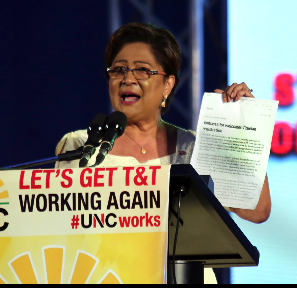 Opposition Leader Kamla Persad-Bissessar speaks athe UNC's Monday Night Forum at the Aranguez North Secondary School.