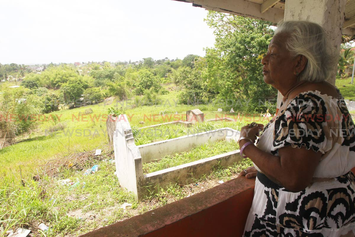 Angela Gay-Persad, former Iere village cemetery keeper commenting on the closure of the cemetery. Photo by Lincoln Holder