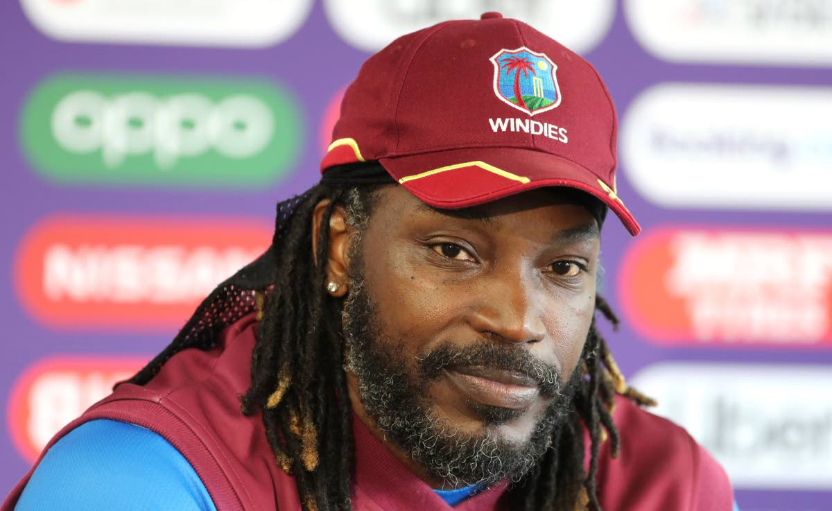 West Indies' Chris Gayle listens to a question from a journalist during a press conference after attending a training session ahead of their Cricket World Cup match against India at Old Trafford in Manchester, England, today. (AP Photo)