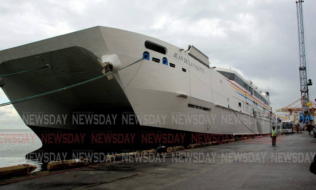 MV Jean de La Valette high-speed catamaran ferry at the  Port of Port of Spain , leased by the government for the Trinidad & Tobago Inter-Island Ferry Service.  PHOTO SUREASH CHOLAI