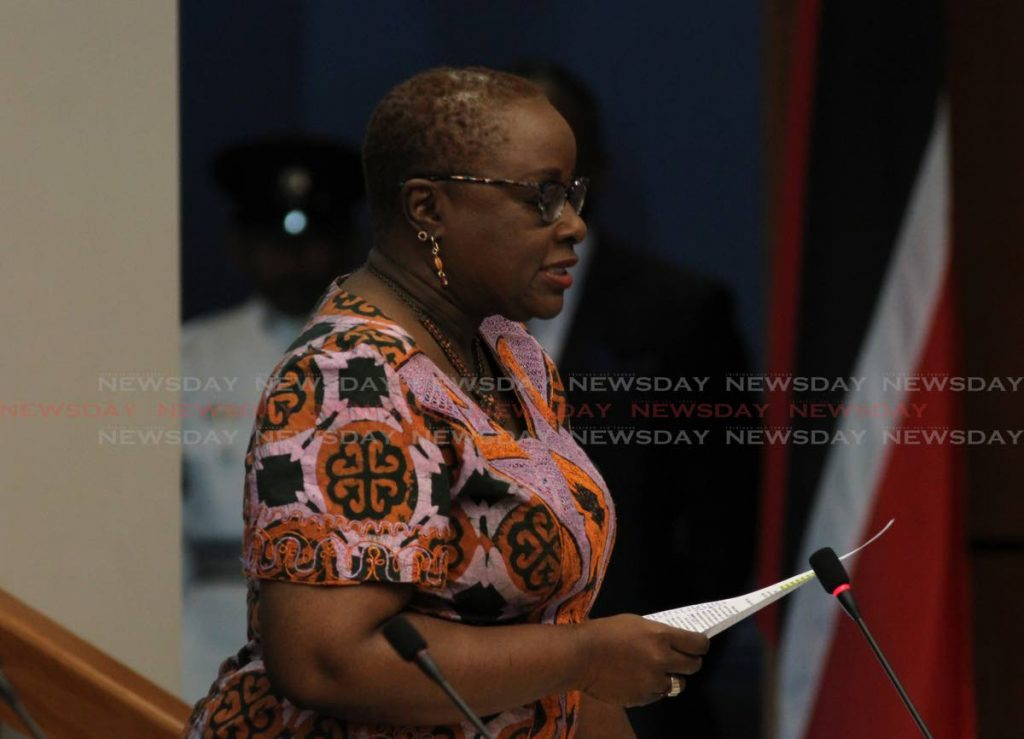 Minister of Planning and Development Camille Robinson-Regis speaks during Parliament. PHOTO BY AYANNA KINSALE