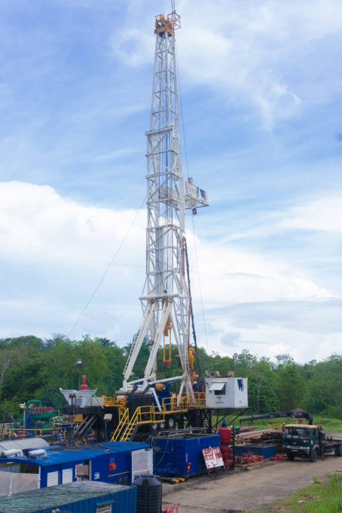 PROSPECTING: A drilling rig for an oil well, belonging to Heritage Petroleum is seen in this photo as the state oil company began land drilling on the weekend. PHOTO COURTESY HERITAGE PETROLEUM LTD