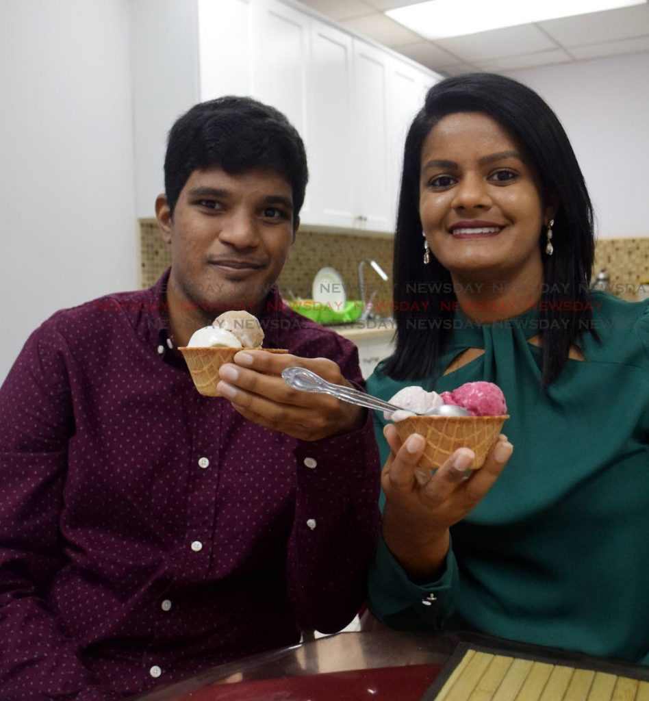 Sangeeta Nowbut, creator of Cone Tree-ts vegan ice cream and her brother, Viresh. Viresh, who was disgnosed with autism, is an integral part of the business and calls himself the CEO. Photo by Vidya Thurab