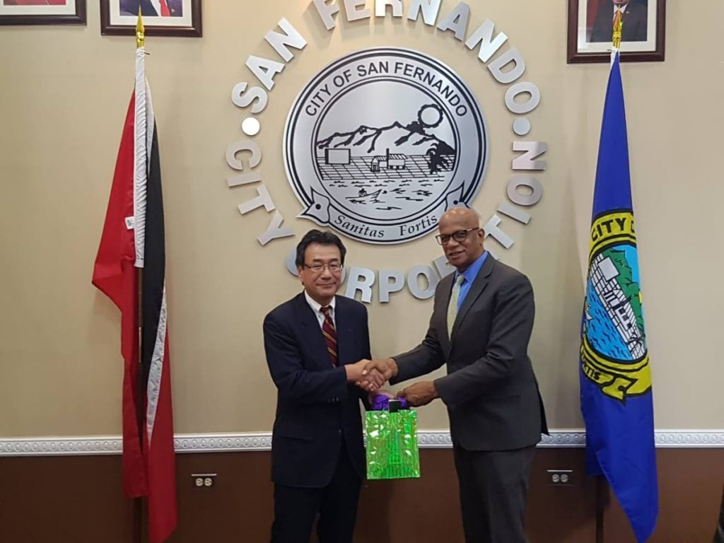 San Fernando Mayor Junia Regrello, right, with Japanese ambassador Tatsuo Hirayama, at  City Hall on Monday.  PHOTO COURTESY SAN FERNANDO CITY CORPORATION