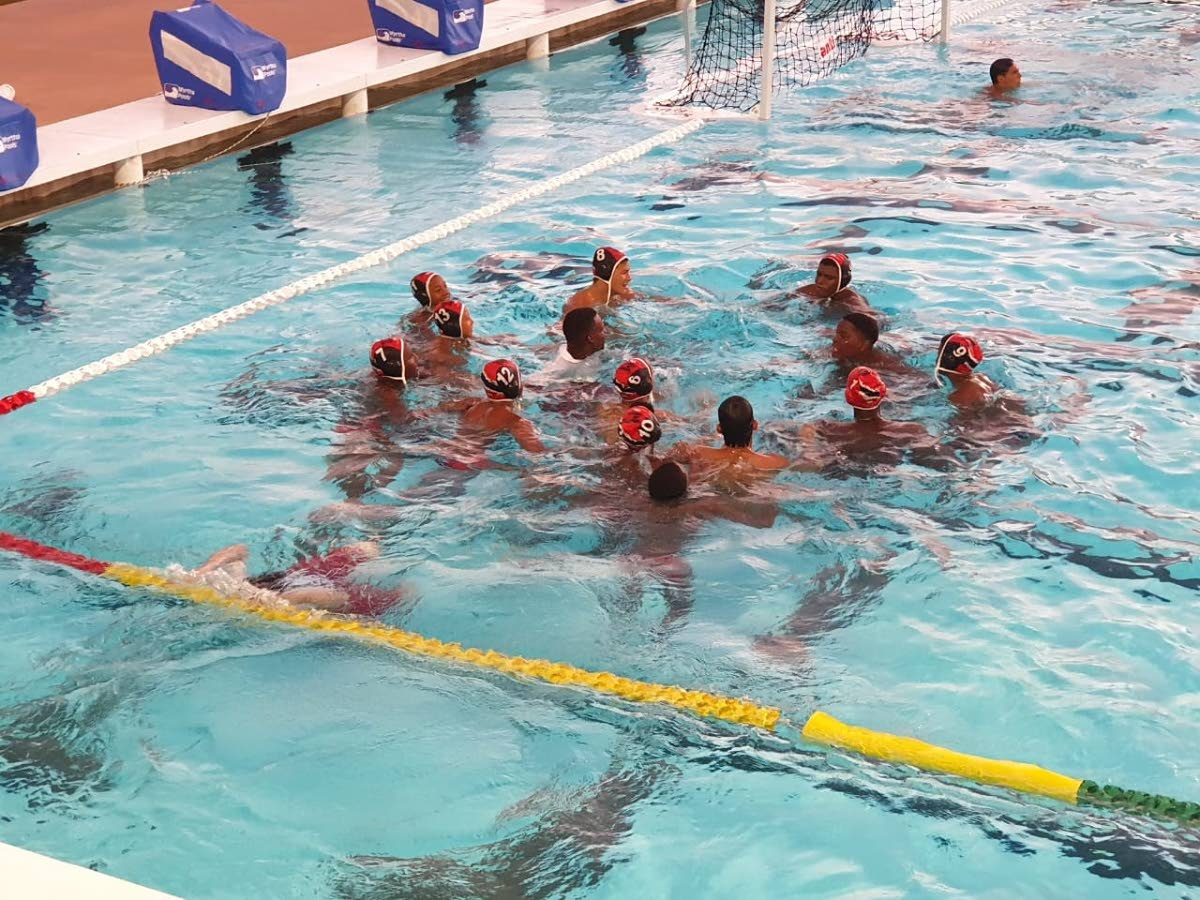 Members of the TT Under-15 boys water polo team at the CCCAN Championships in Barbados.
