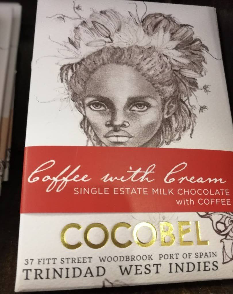 A bar of Cocobel Chocolate with its intricate packaging, sold only in TT.