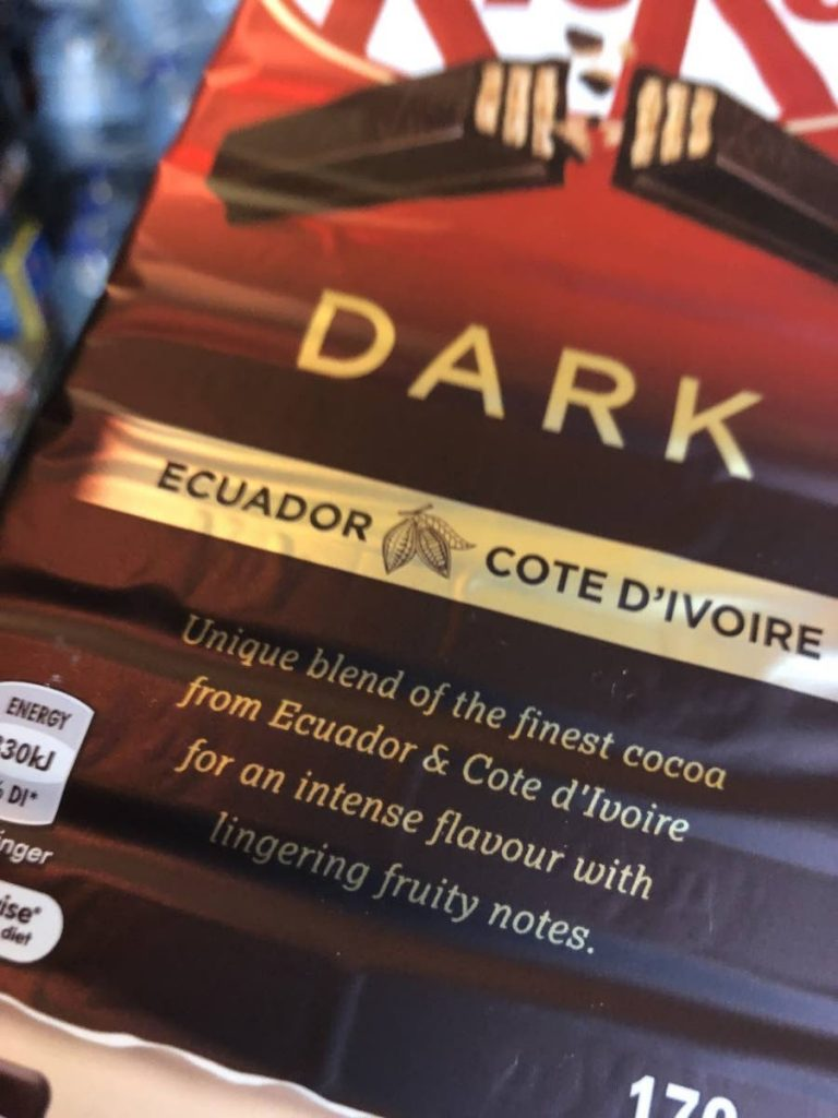 Countries like Ecuador and Cote D'Ivoire enjoy being featured within chocolates like the mega brand, Kit Kat.