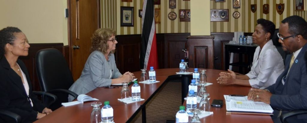 TALKS: National Security Ag Permanent Secretary Penelope Bradshaw-Niles, 2nd from right  and US State Department Deputy Assistant Secretary Nancy Izzo Jackson, 2nd from left,  engage in discussions at the Ministry last week. PHOTO COURTESY MINISTRY OF NATIONAL SECURITY