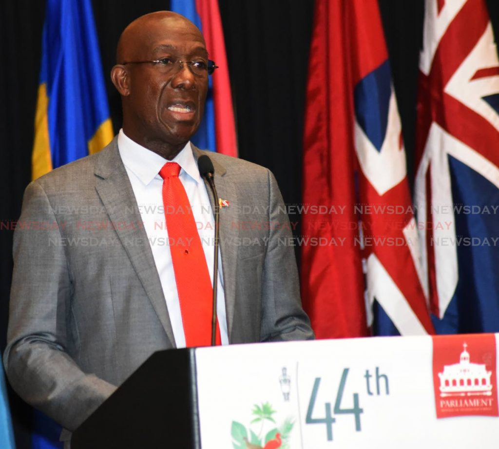 Prime Minister Dr Keith Rowley addresses the 44th Annual Conference of the Caribbean, Americas and the Atlantic Region of the Commonwealth Parliamentary Association (CPA) at the Hyatt Regency, Port of Spain, on Monday. PHOTO BY KERWIN PIERRE