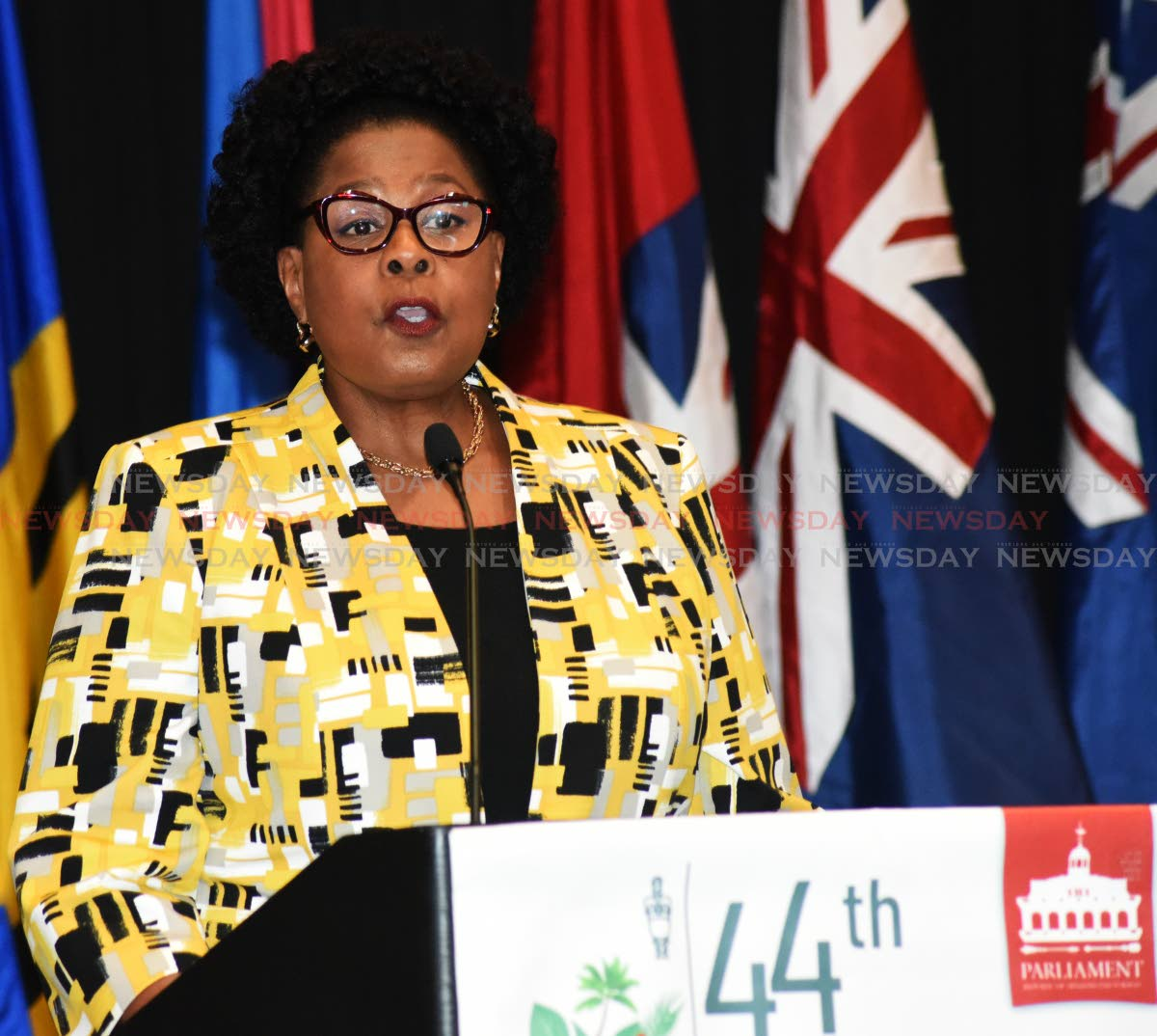 TT President Paula-Mae Weekes addresses the 44th annual Conference of the Caribbean Americas and the Atlantic Region of the Commonwealth Parliamentary at Hyatt Regency, Port of Spain. Photo by Kerwin Pierre