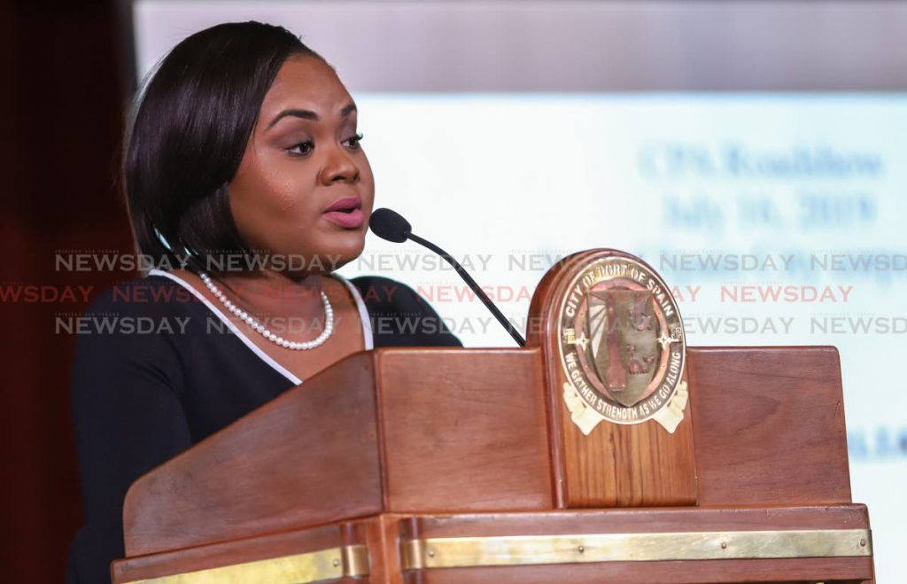 Minister of Sport and Youth Affairs Shamfa Cudjoe presents on the role of an MP and Parliament at the Commonwealth Parliamentary Association Road Show City Hall Port of Spain
