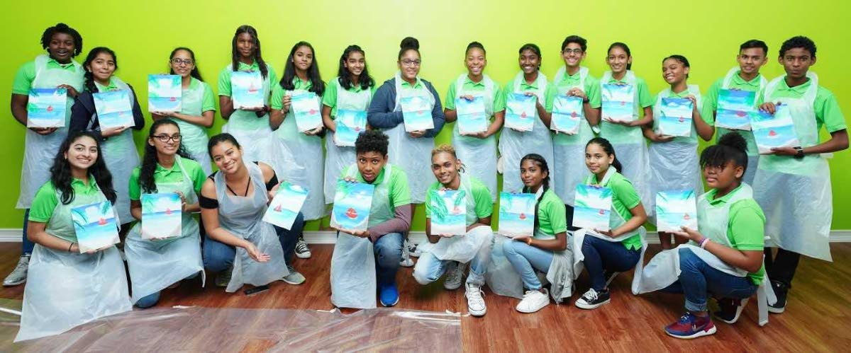 The Point Fortin's Finest Leadership Development Programme students show off their creations.