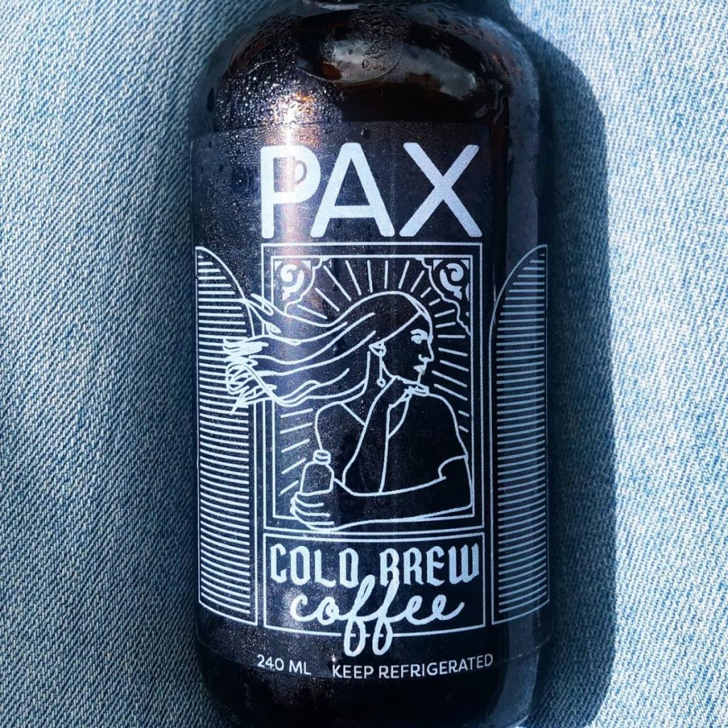 A bottle of classic cold brew from Pax Coffee and Kitchen.