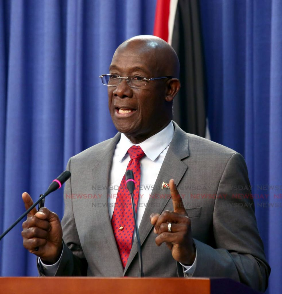 Prime Minister Dr Keith Rowley speaks at a post-Cabinet press briefing at the Diplomatic Centre in St Ann's, on Thursday. PHOTO BY SUREASH CHOLAI