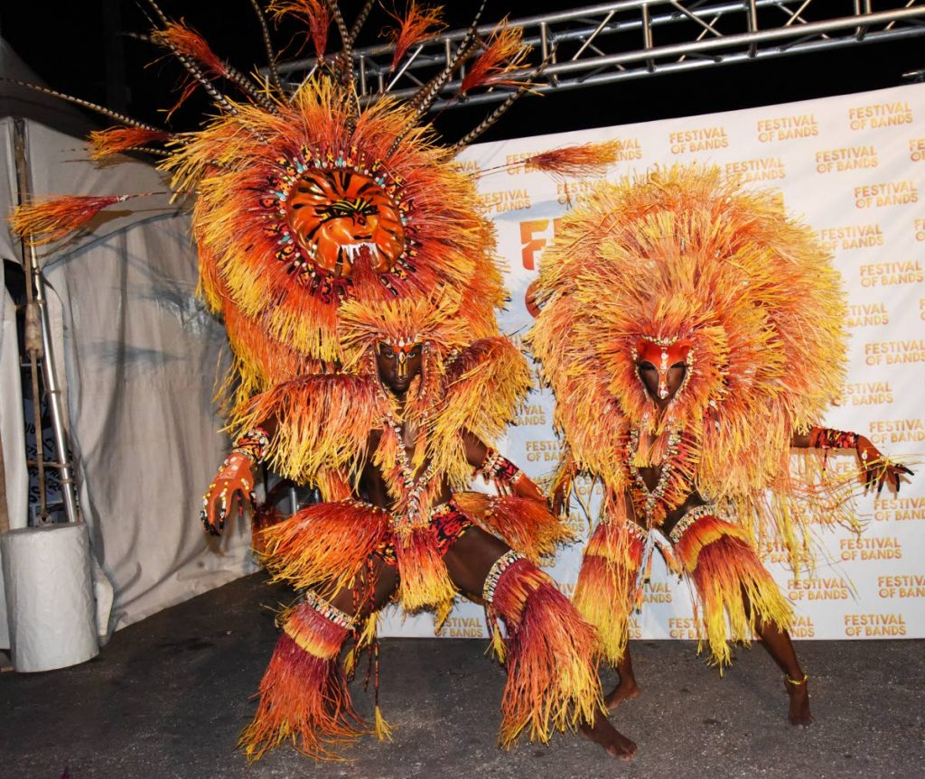 Costumes from The Lost Tribe's presentation: Anansi on stage during Tribe's Festival of the Band 2019 launch at the Jean Pierre Complex, Port of Spain on Saturday night. PHOTO BY KERWIN PIERRE