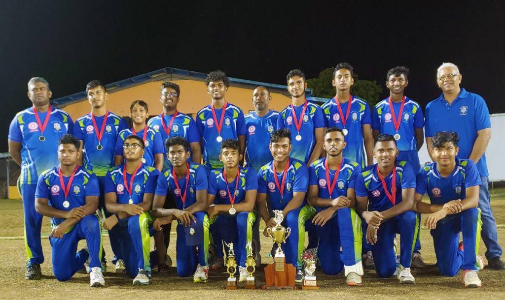 Members of the Presentation College San Fernando cricket team after winning a recent title.