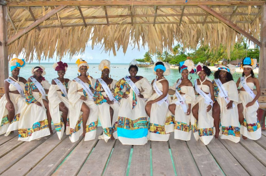Miss Tobago Heritage 2018 Oshun Trum, centre, with the participants for the 2019 edition which gets under way on Friday. There were originally ten contestants but one dropped out.