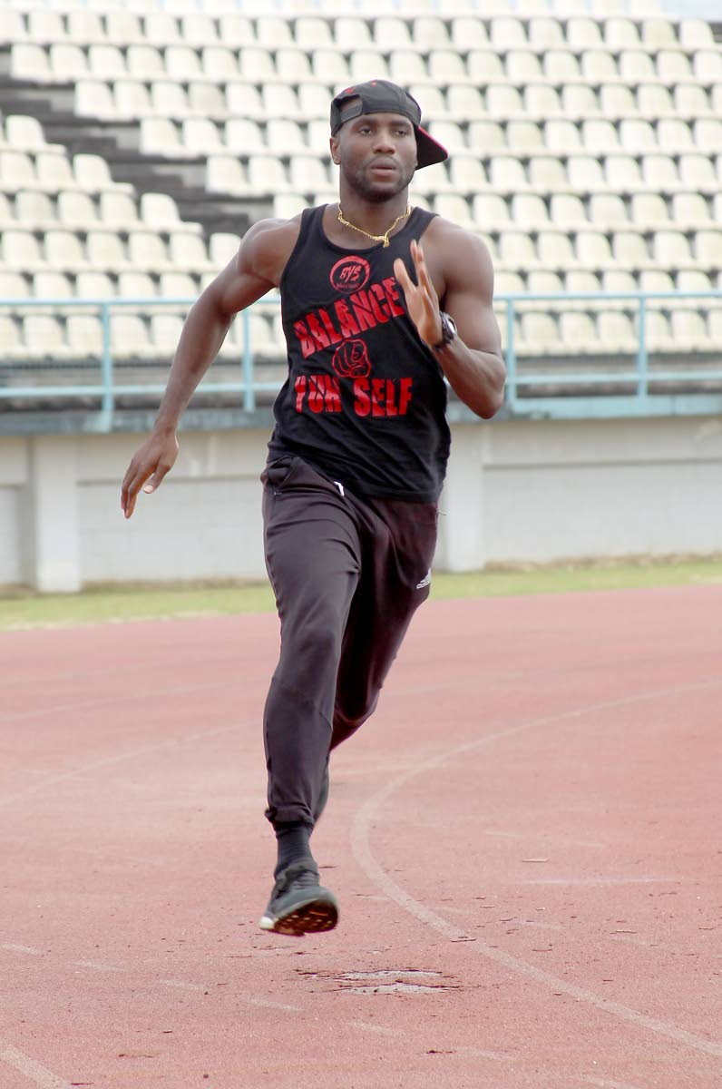 TT sprinter and double Olympic medallist Emmanuel Callender takes part in a training session, at the Larry Gomes Stadium, Malabar, yesterday. Callender will take part in the National Track and Field Championsips, which take place this weekend.