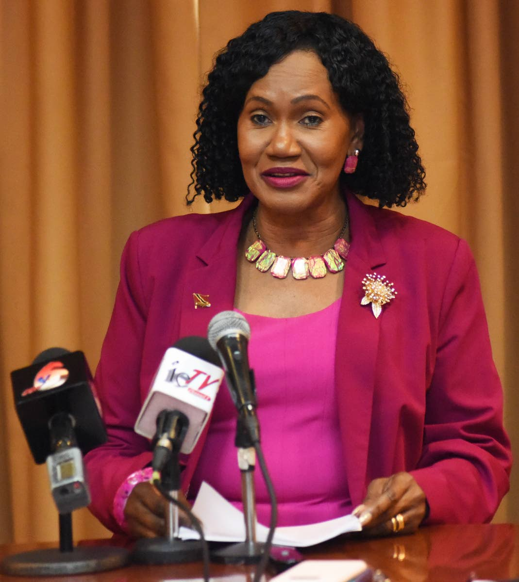 Jennifer Baptiste, Minister of Labour and Small Enterprise Development speaks at the launch of the public awareness campaign on the National Workplace Policy on HIV/AIDS yesterday.   PHOTO BY KERWIN PIERRE