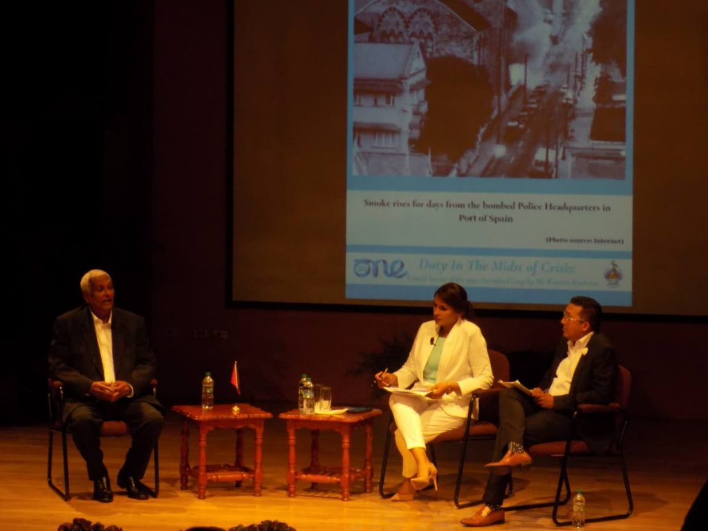 WHAT A HORROR: Winston Dookeran recounts his experience of being a hostage at the Red House during the July 27, 1990 coup attempt.  PHOTO BY SHANE SUPERVILLE  on Monday at the LRC, St Augustine campus during his discourse on the 1990 attempted coup.  PHOTO BY SHANE SUPERVILLE