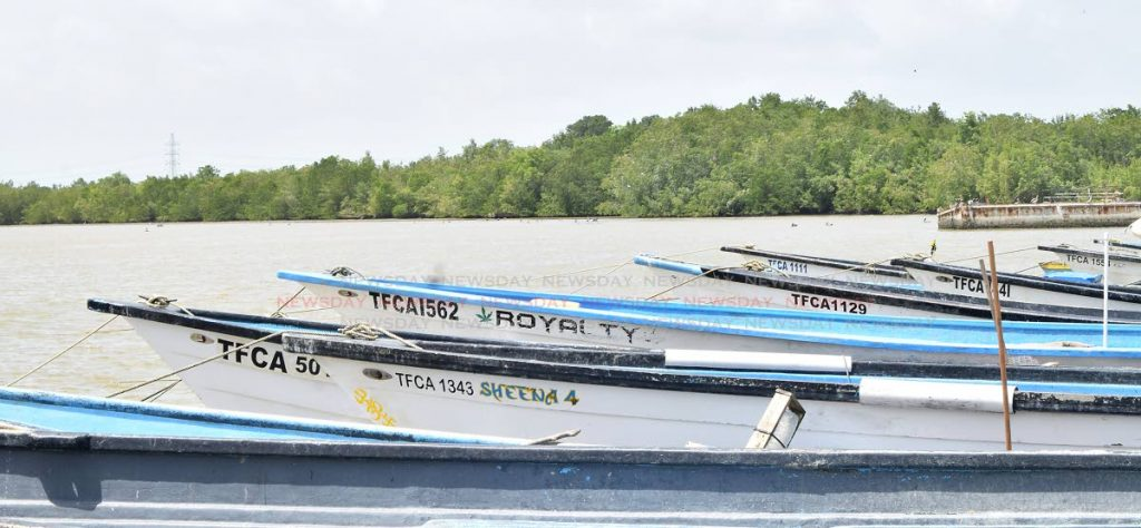 Sheena 4 one of the boats of the seven fishermen from Couva which was recovered after they were attacked at sea a week ago. Two women have been charged with seven counts of robbery. PHOTO BY VIDYA THURAB