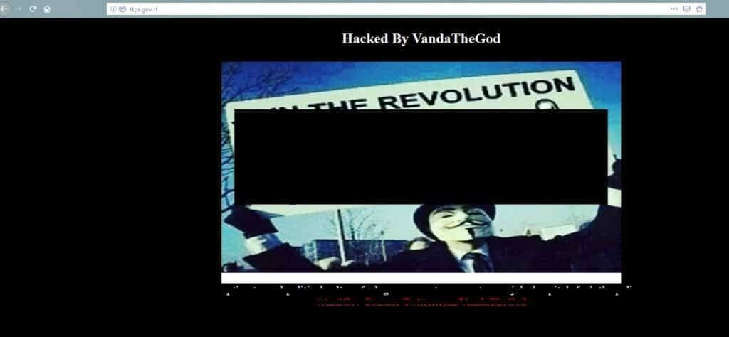 A screenshot of the hacked police website.