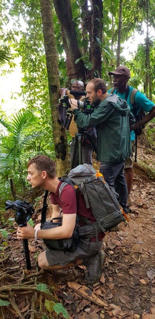 A crew from National Geographic Travellers explores the Main Ridge Forest Reserve with local tour guides last Friday. PHOTO COURTESY TOBAGO TOURISM AGENCY