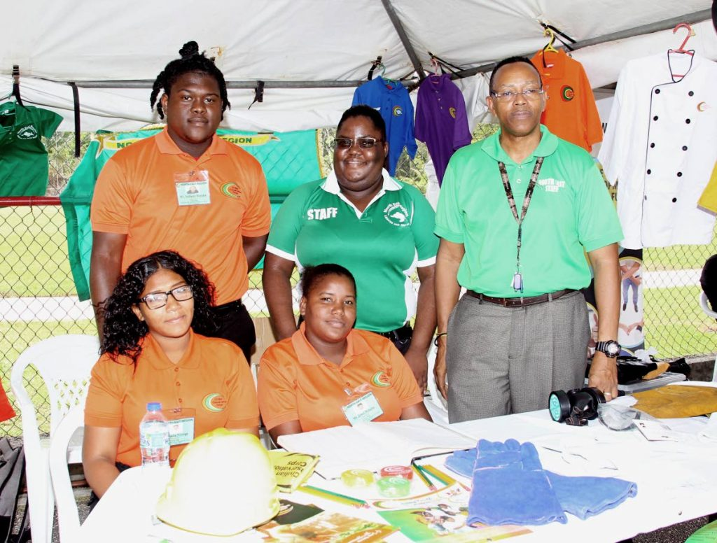 Administration officer Alfred Edwards and participants of the Civilian Conservation Corps, north east region, Kadedia Johnson, Jewel Roberts, Anthony Romain and Nadia Noreiga, at
