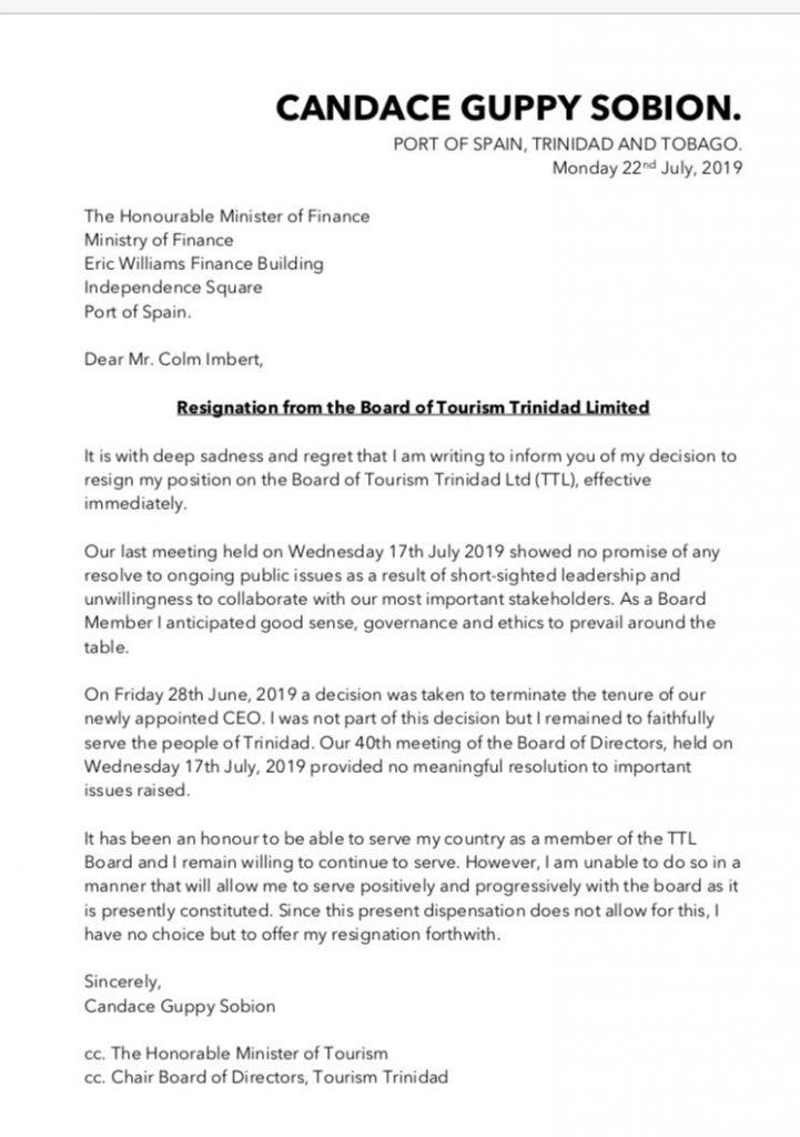 Tourism TT resignation letter Candace Guppy Sobion