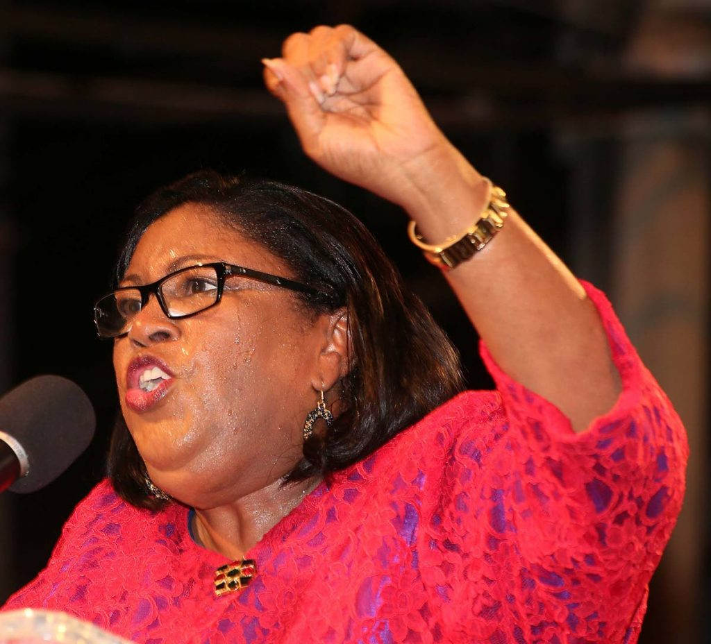 In this September 3, 2015 file photo Marlene McDonald campaigns as the PNM candidate for Port-of-Spain South during a meeting in St James.