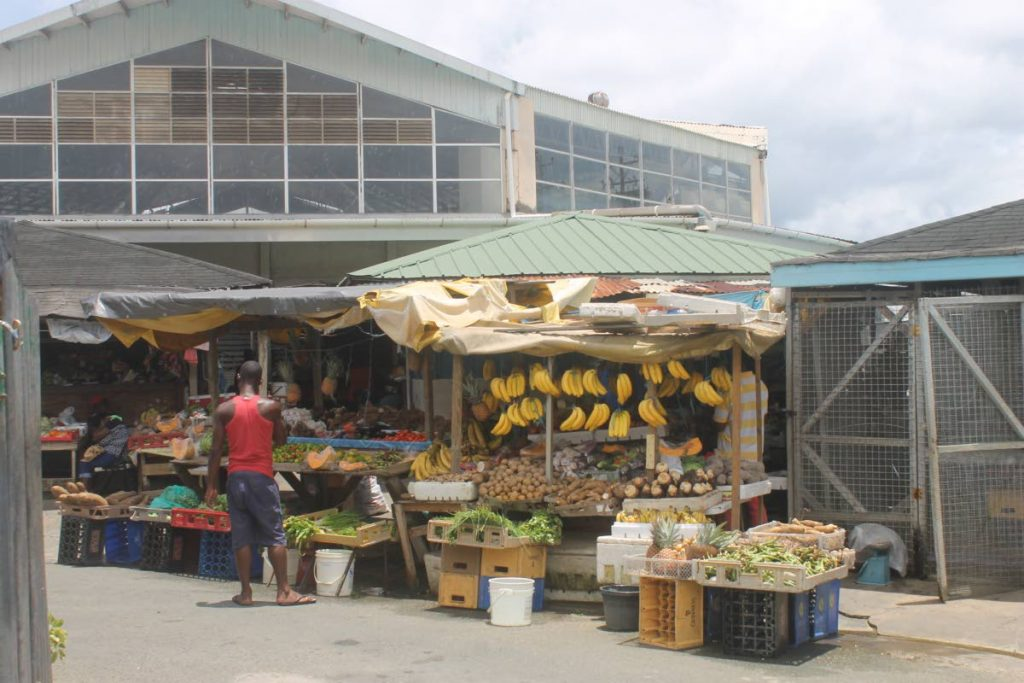 Market produce on display outside the Scarborough market on Wilson Road in Tobago. FILE PHOTO
