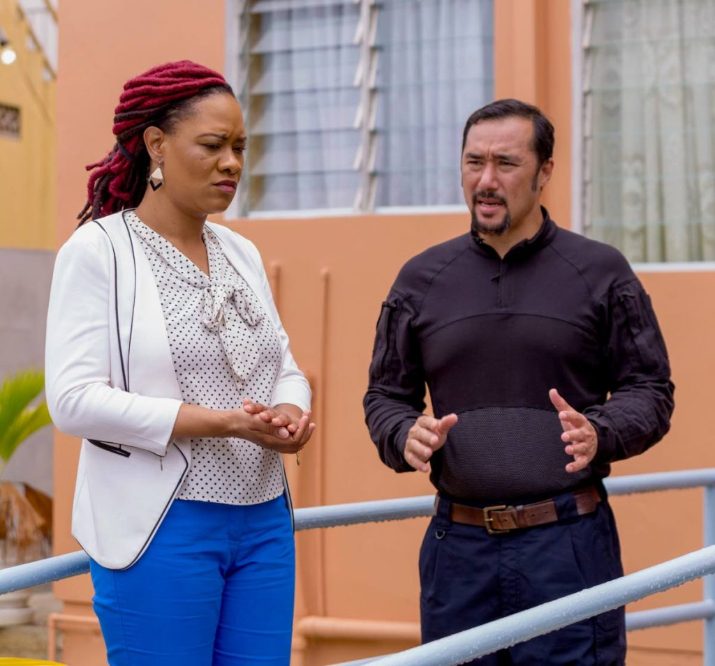 Tobago East MP Ayanna Webster-Roy, left, and National Security Minister Stuart Young in Charlotteville earlier this year. PHOTO BY DAVID REID