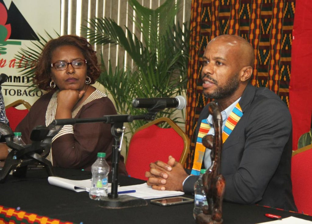 Director of Cross Rhodes Freedom Project Shabaka Kambon speaks during a forum on Africa and its diaspora at the Queen's Park Savannah in 2019.  PHOTO BY AYANNA KINSALE