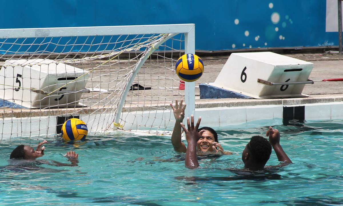 Members of the TT boys Under-17 water polo team in a training session at Marlins Swim Club, Westmoorings, recently. PHOTO BY ROGER JACOB