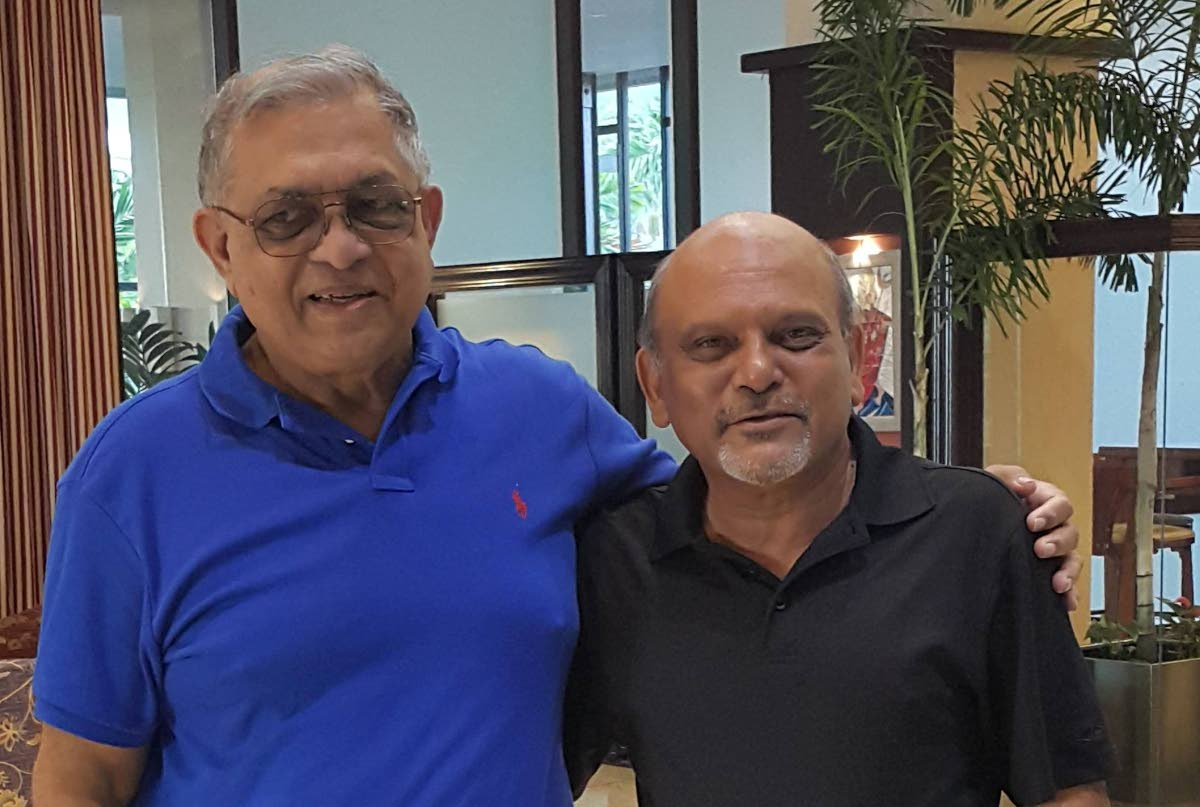 Tony Deyal, left, with his cousin Msgr Gregory Ramkissoon, founder of Mustard Seed Communities in Jamaica and elsewhere. Msgr Ramkissoon is from Carapichaima.