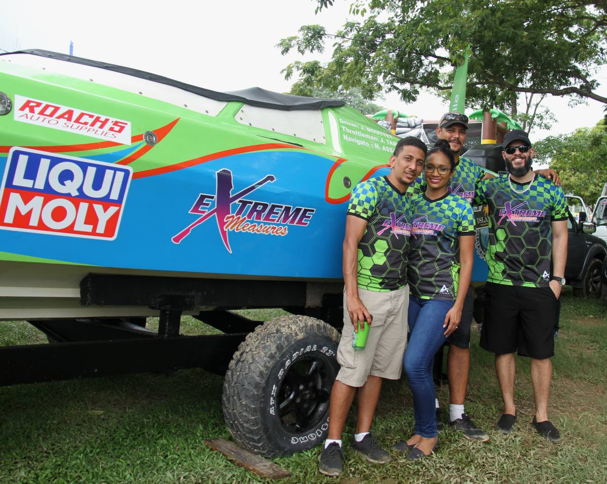 Members of Xtreme Measures at the Great Race 2019 boat show, Queen's Park Savannah, Port of Spain, earlier this month. PHOTO BY AYANNA KINSALE