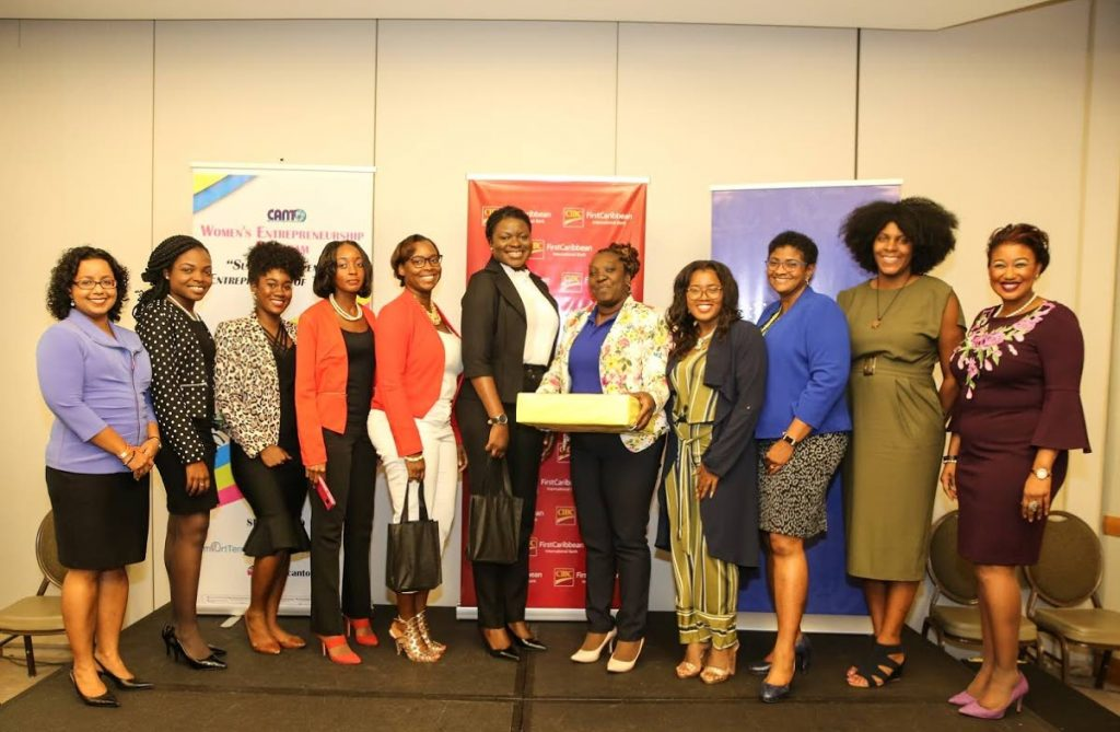 Gillian Charles-Gollop (third from right), CIBC First Caribbean executive director, Corporate Investment Banking and Advisory, with the six Tobago finalists of a women's entrepreneurship programme facilitated by SmartTerm, a Caribbean e-learning solutions provider, and the judging panel.